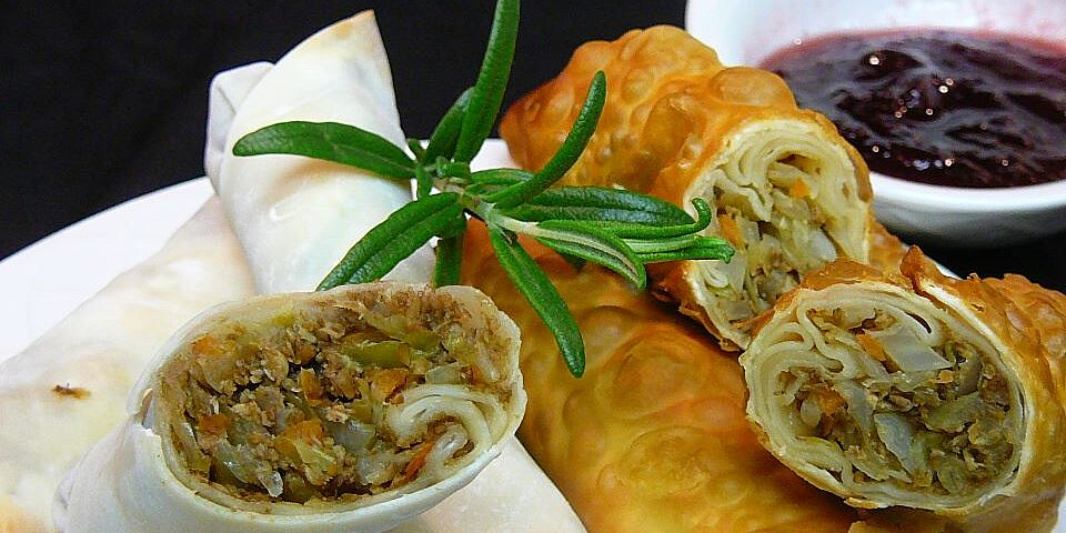 leftover turkey spring rolls with cranberry sweet and sour