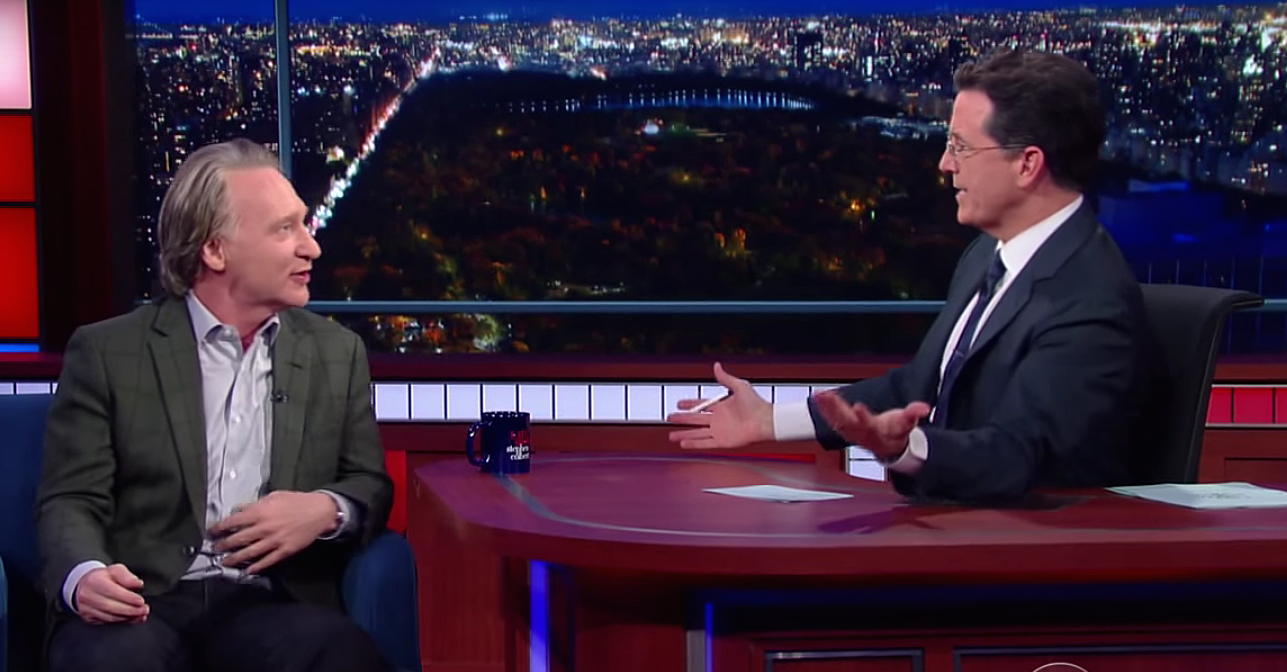 Bill Maher mocks religion during discussion with Stephen Colbert