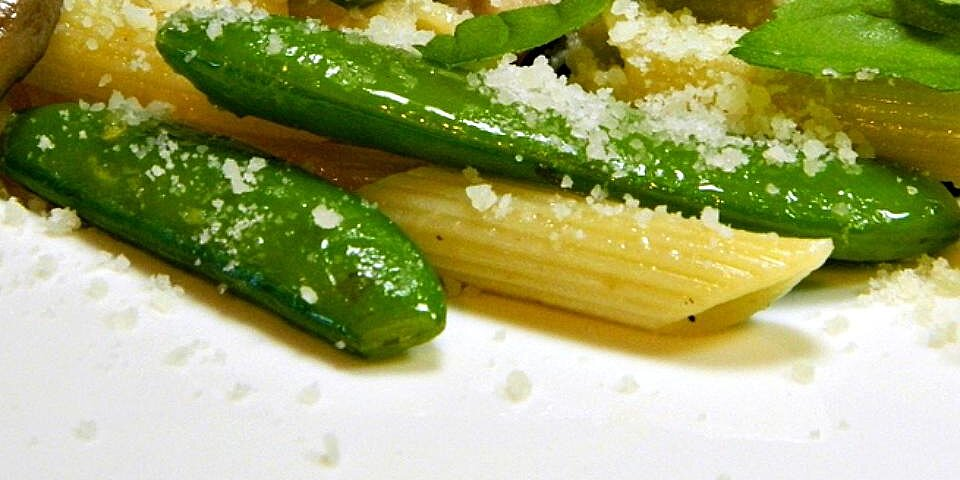 pasta with sugar snap peas parmesan and mushrooms recipe