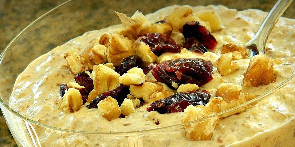 peanut butter and honey overnight oats with walnuts and