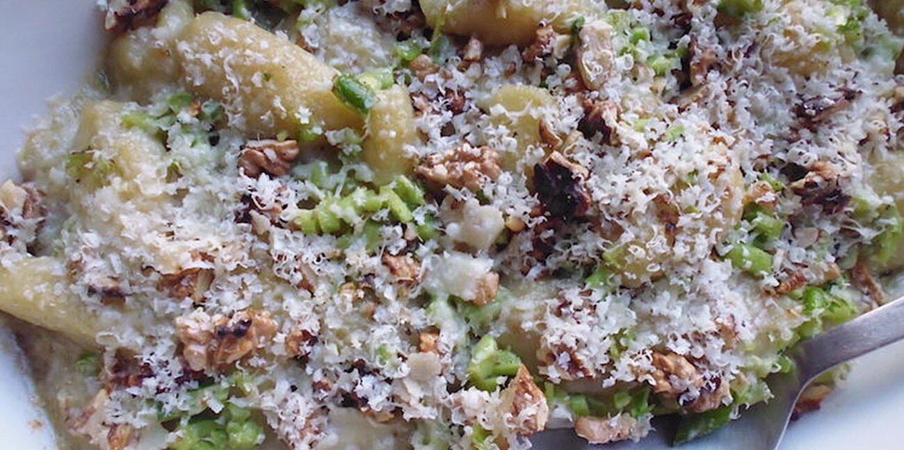gnocchi with garlic scapes and walnuts recipe