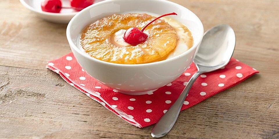 pineapple upside down yogurt cup