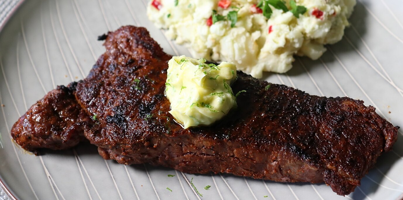chef johns chili steak with garlic lime butter is great from the grill