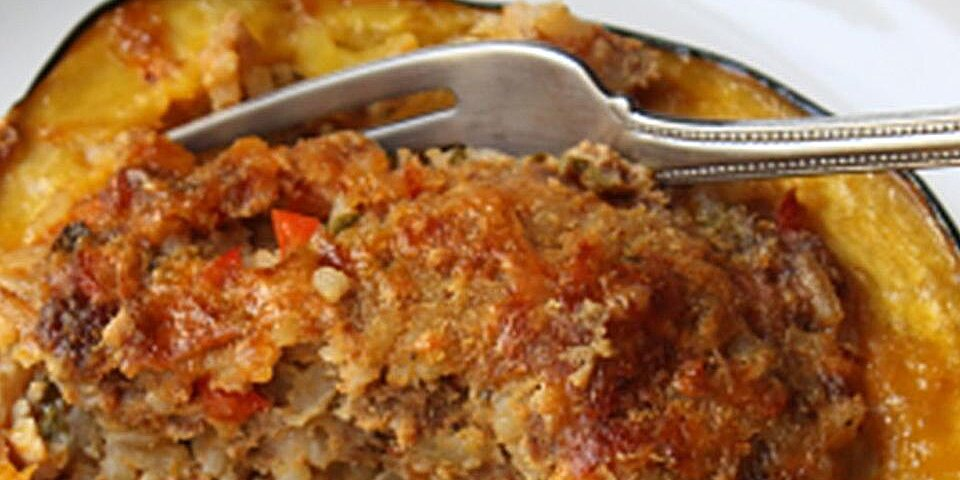 sausage and rice stuffed acorn squash