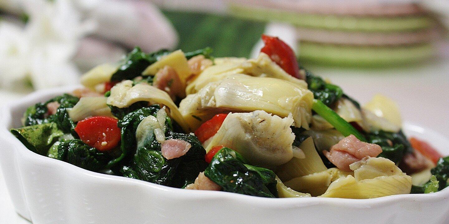 colorful spinach and prosciutto side recipe