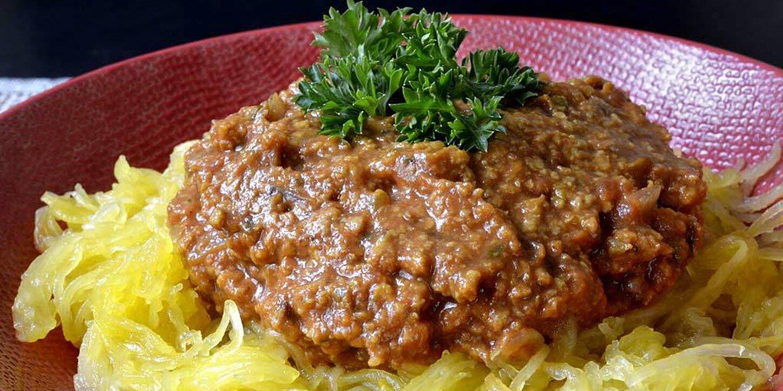 low carb vegan spaghetti squash bolognese recipe