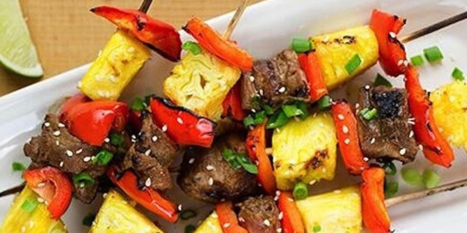 grilled pork and pineapple kabobs