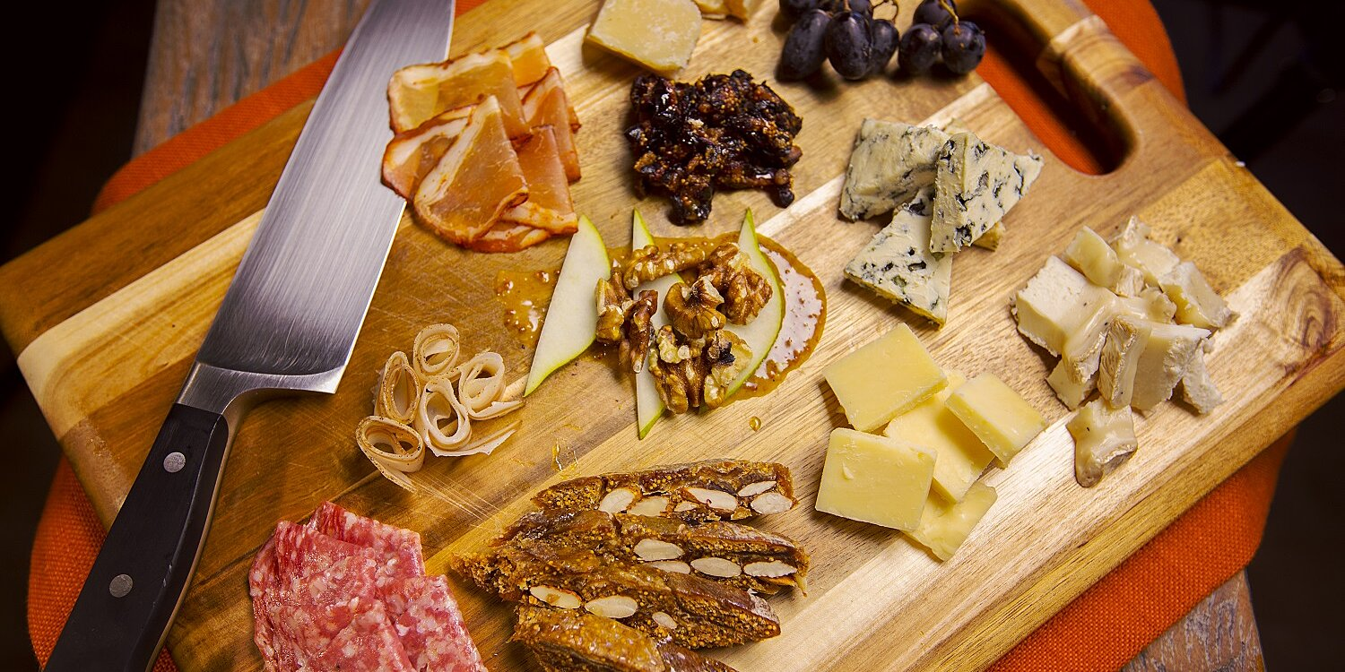 charcuterie tray with honey mustard sauce