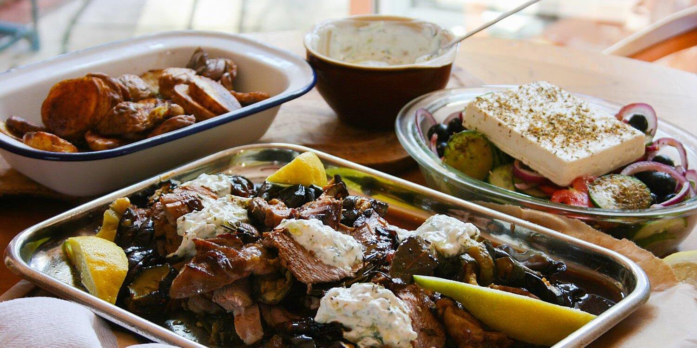 roast greek lamb with tzatziki roasted vegetables and greek