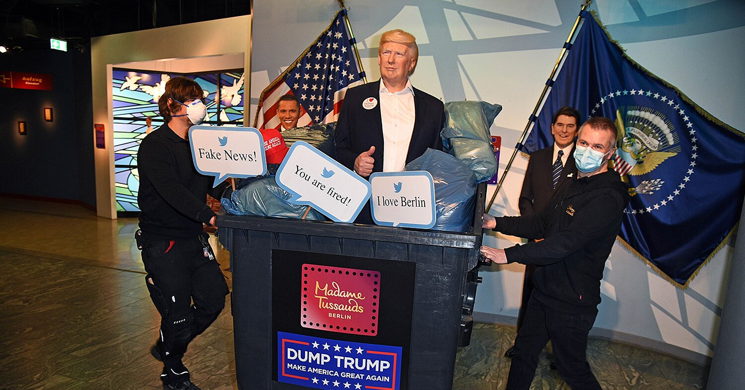 Madame Tussauds in Berlin Dumps Donald Trump's Wax Figure in the Trash Ahead of Election Day