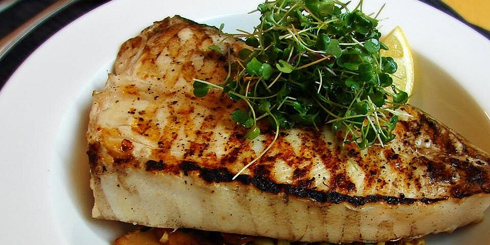 grilled halibut steaks with corn and chanterelles recipe