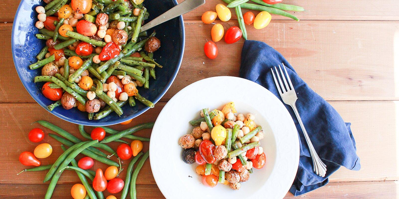 vegan green bean tomato and basil sheet pan dinner recipe