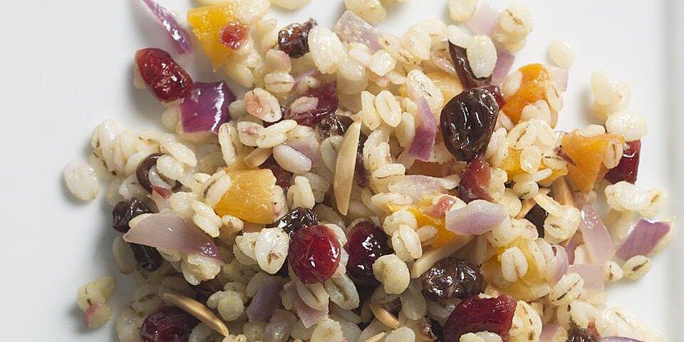 warm jeweled barley salad with honey mustard dressing