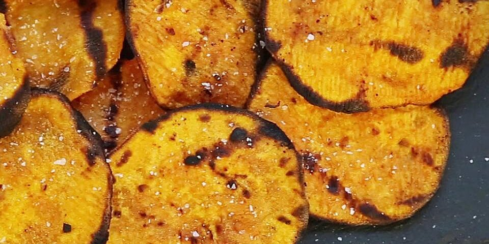 grilled spicy sweet potato chips recipe