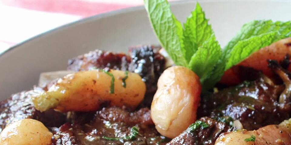 braised lamb with radishes and mint