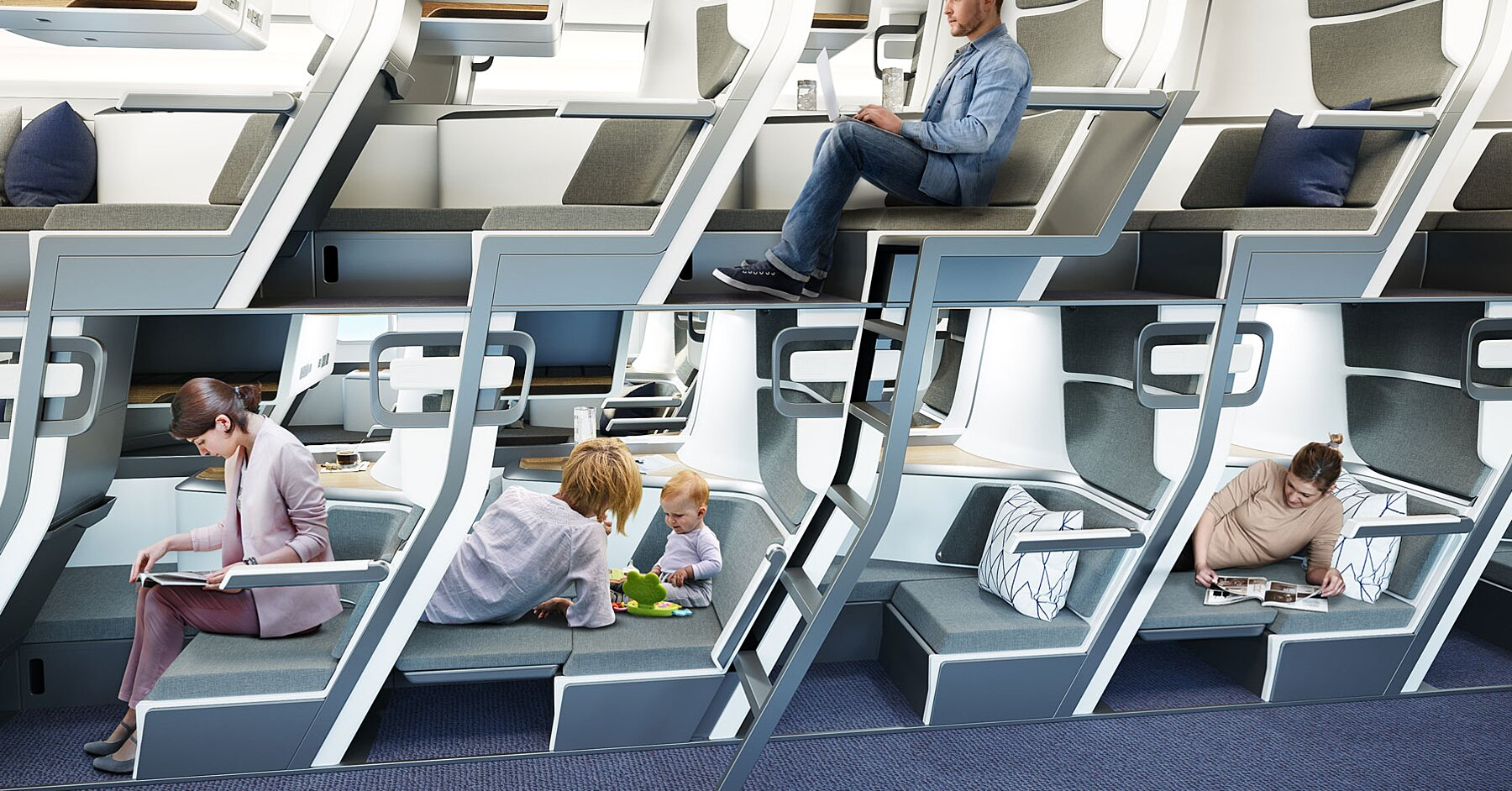 This Double-decker Airplane Seat Could One Day Allow Everyone to Have Lie-flat Seats — Even in Economy