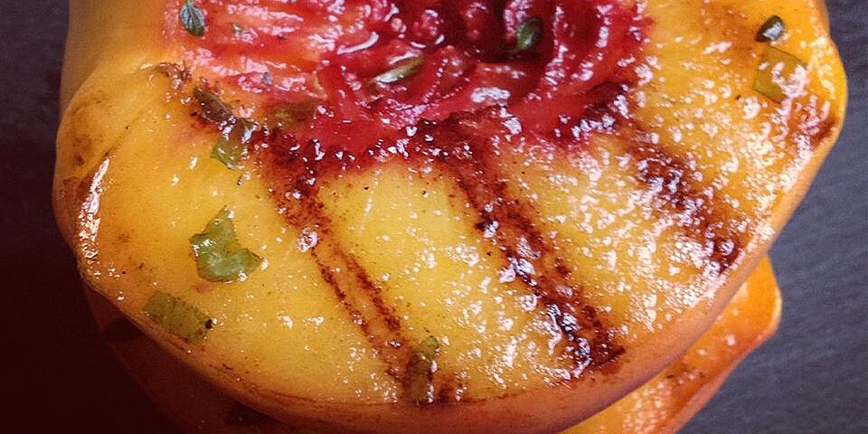 quick savory grilled peaches recipe