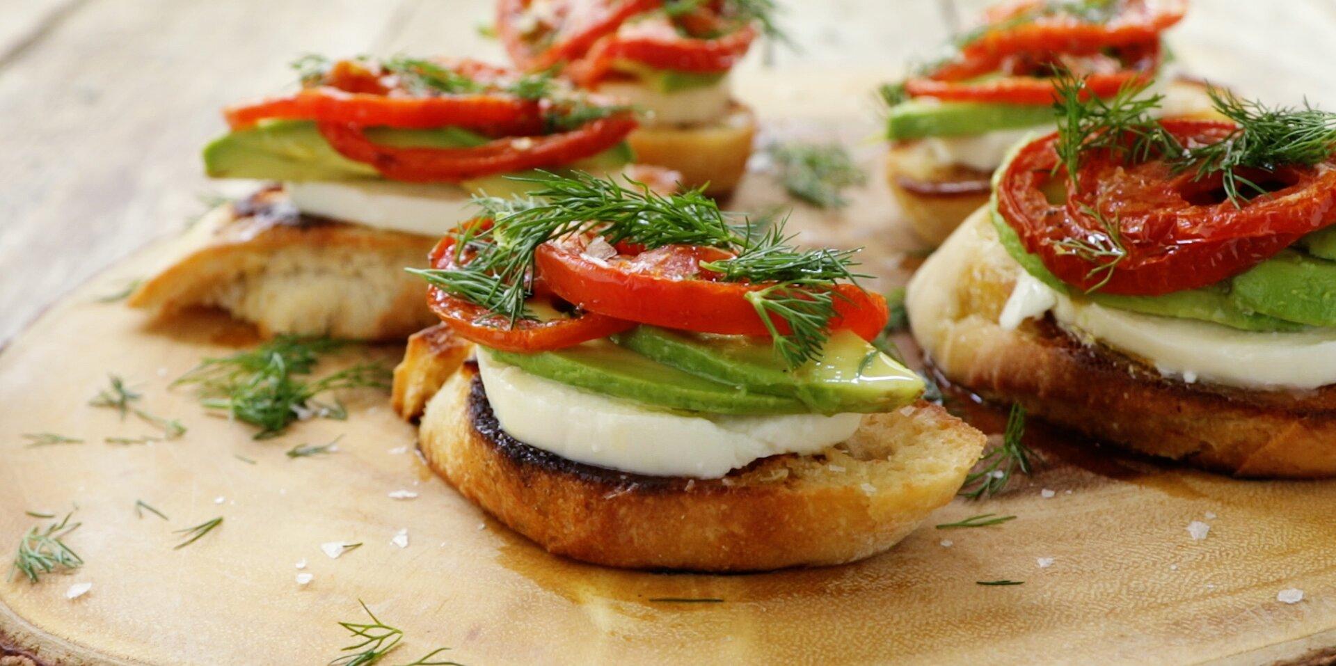 roasted tomato avocado and fresh mozzarella crostini recipe