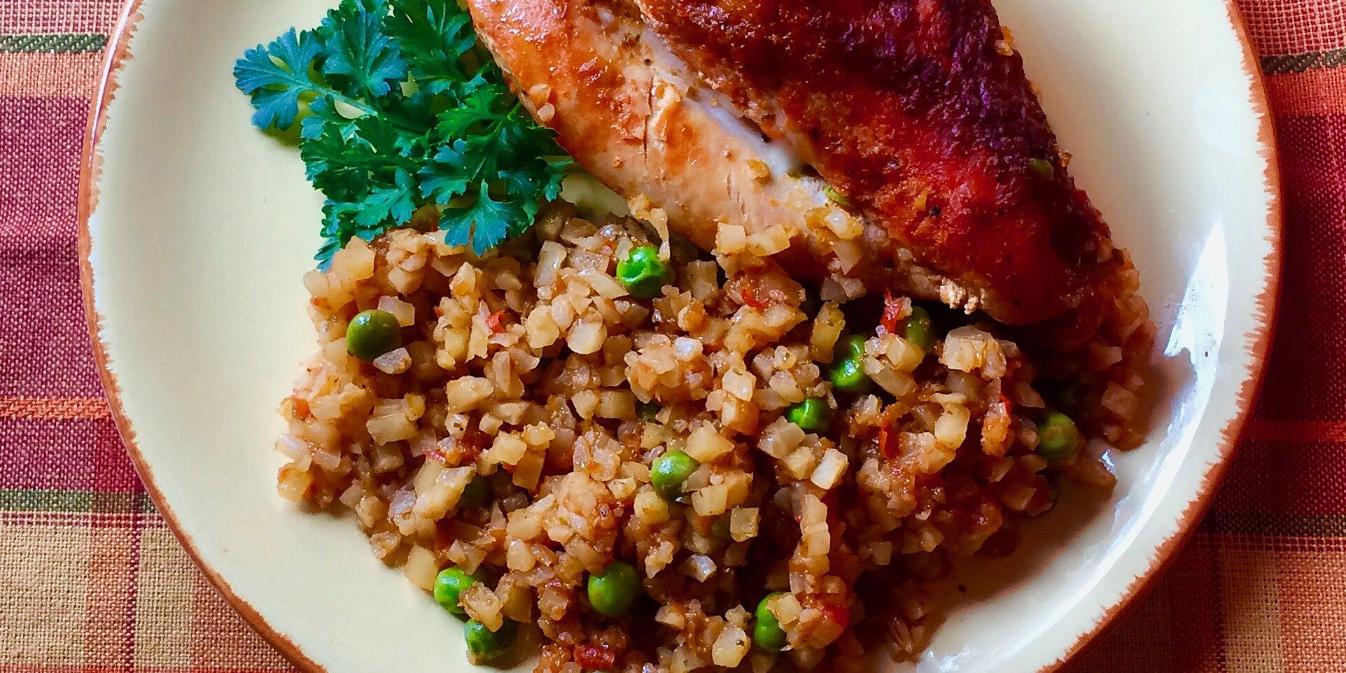 sofrito chicken and cauliflower rice recipe