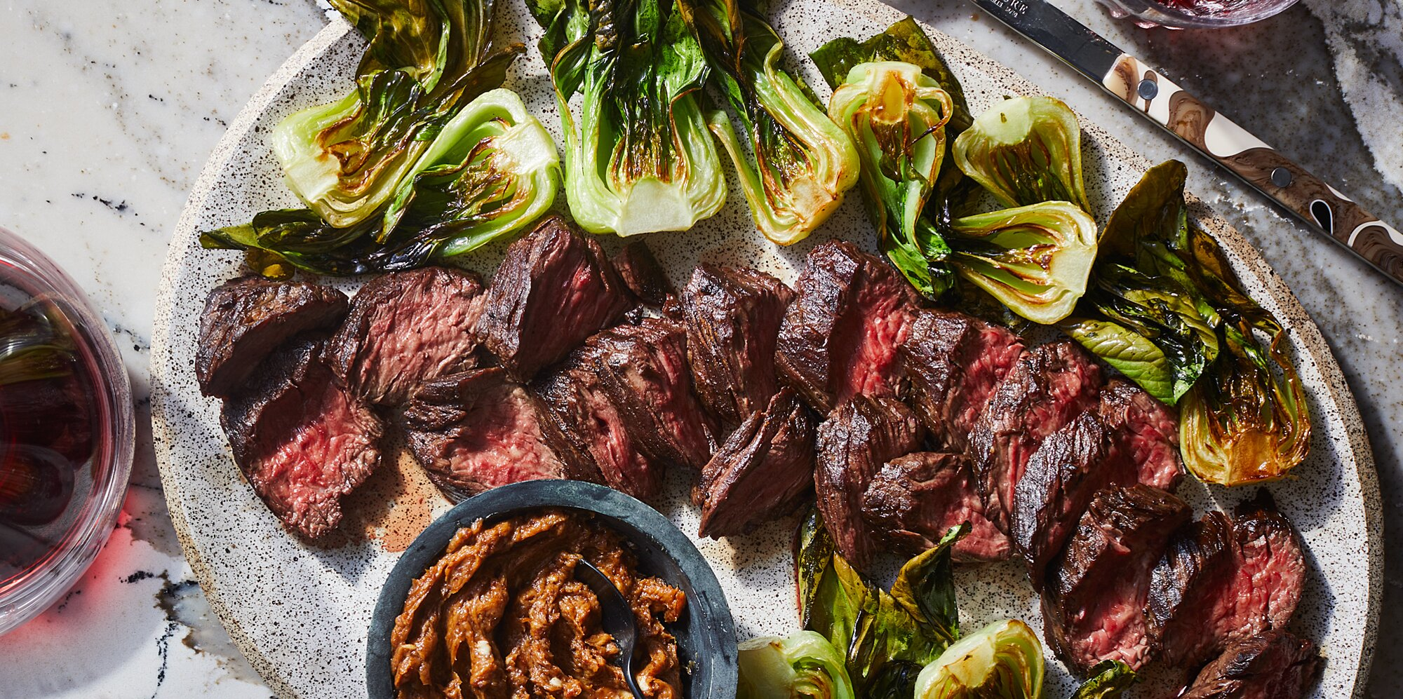 Sheet Pan Hanger Steak and Bok Choy with Lemon-Miso Butter Recipe