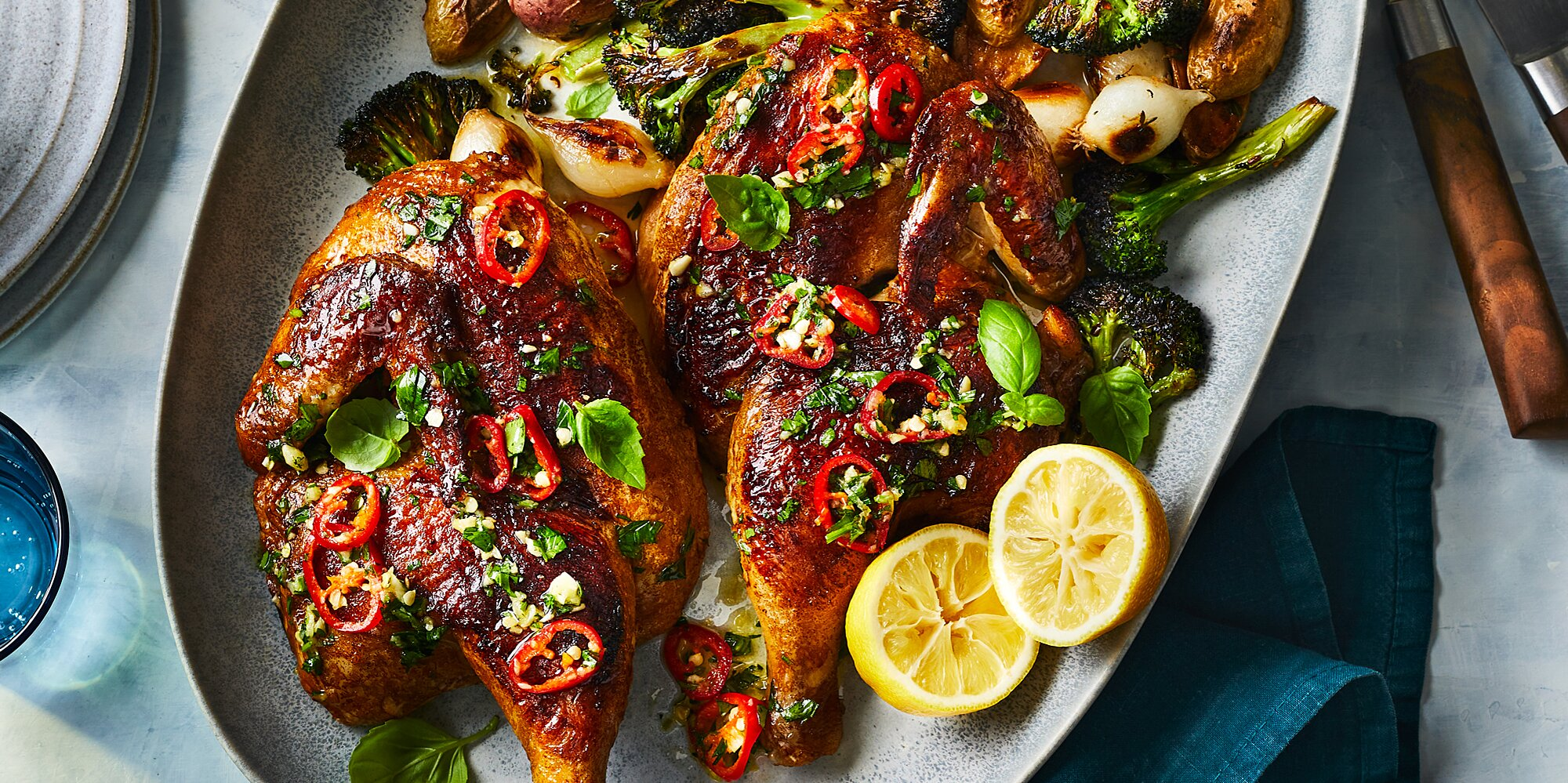 Roast Chicken with Chile-Basil Vinaigrette, Charred Broccoli, and Potatoes
