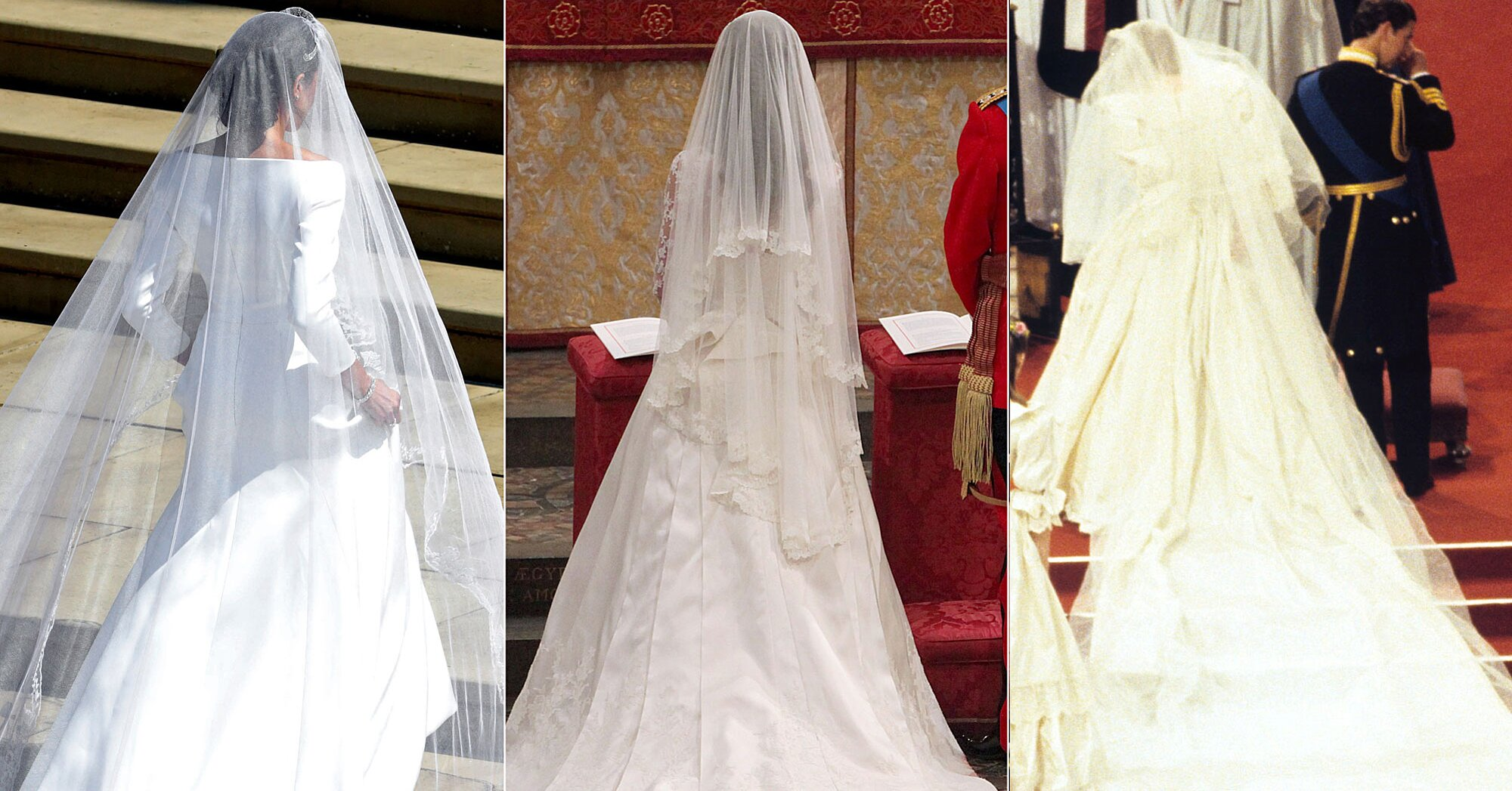 how meghan markle kate middleton and princess diana s wedding gown trains stack up people com how meghan markle kate middleton and