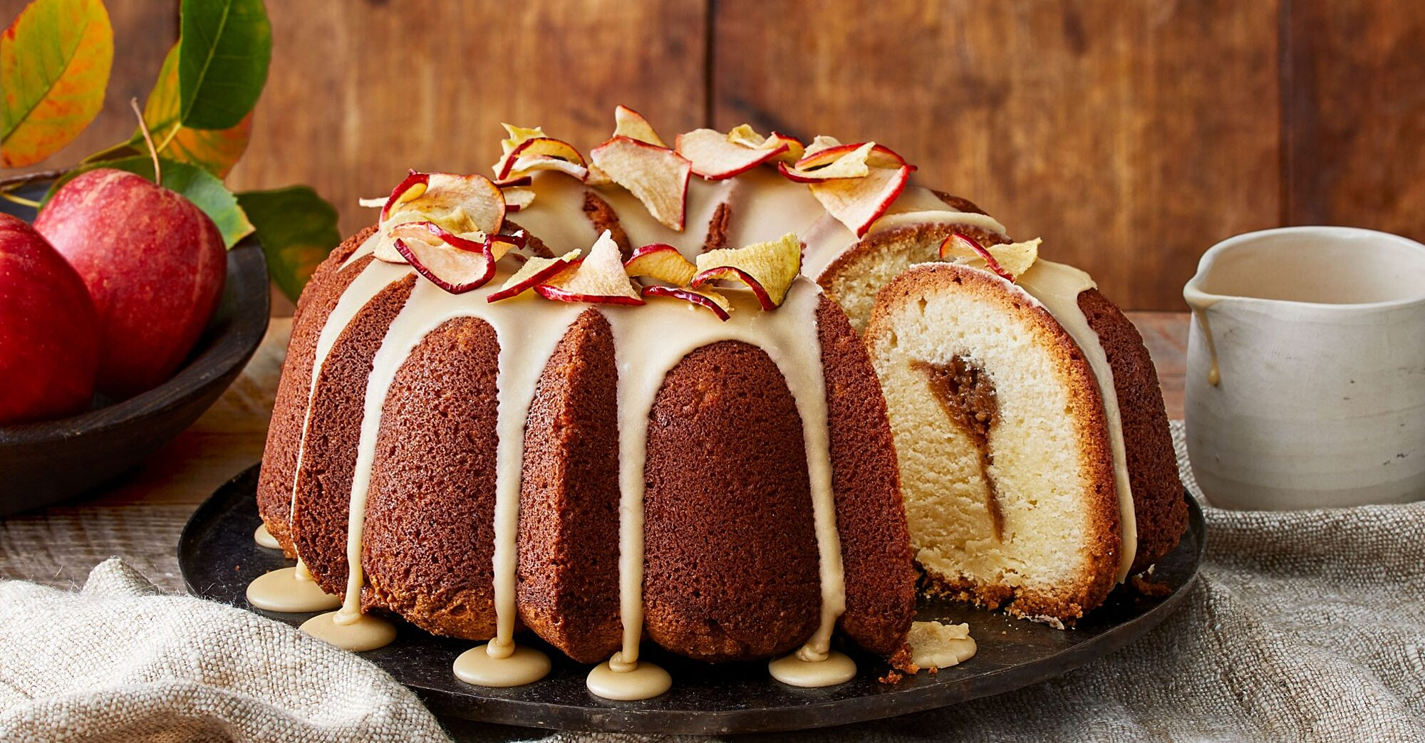 Apple Butter Pound Cake with Caramel Frosting