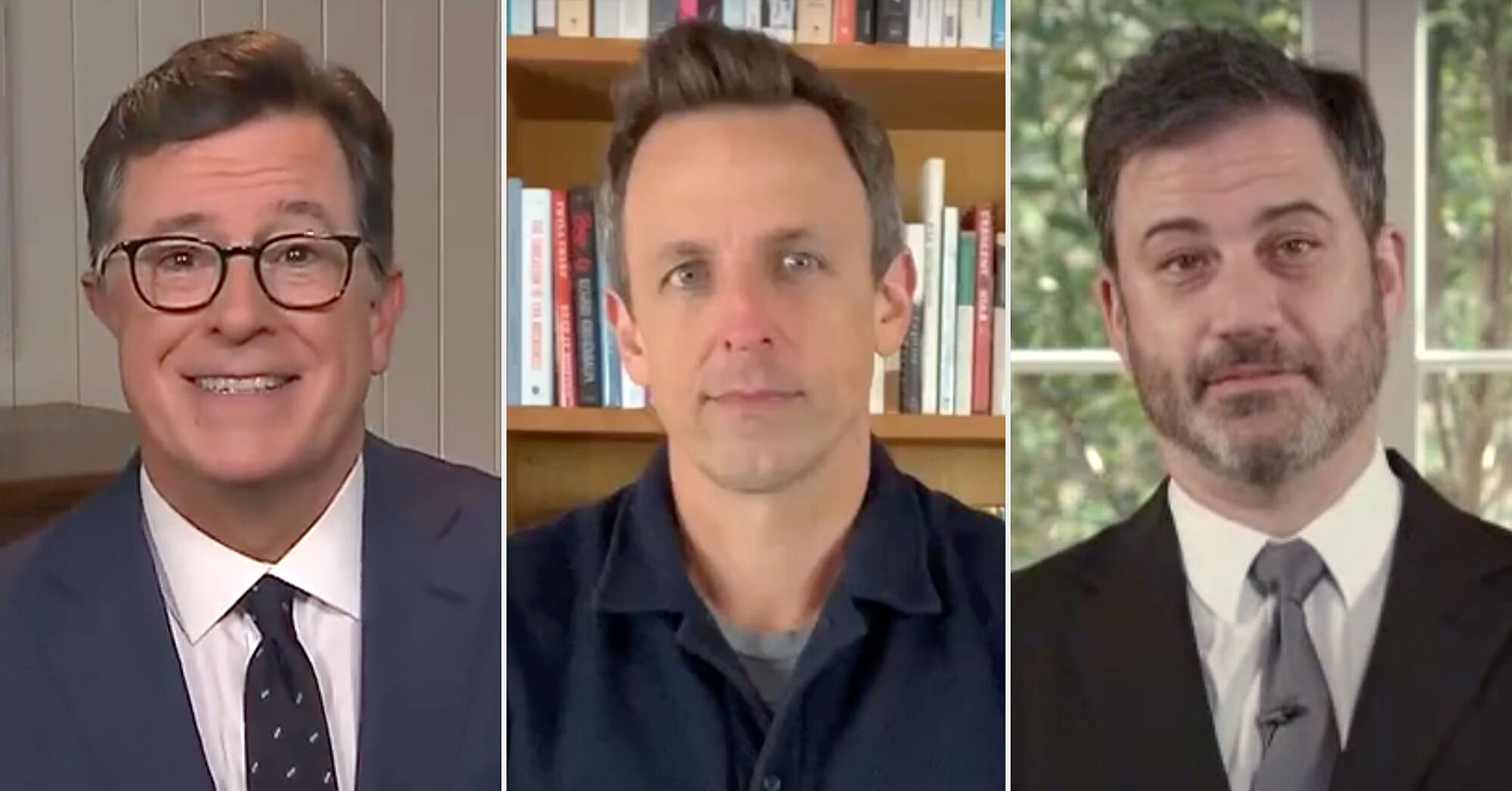 Late night returns: Stephen Colbert, Jimmy Kimmel, Seth Meyers host from home