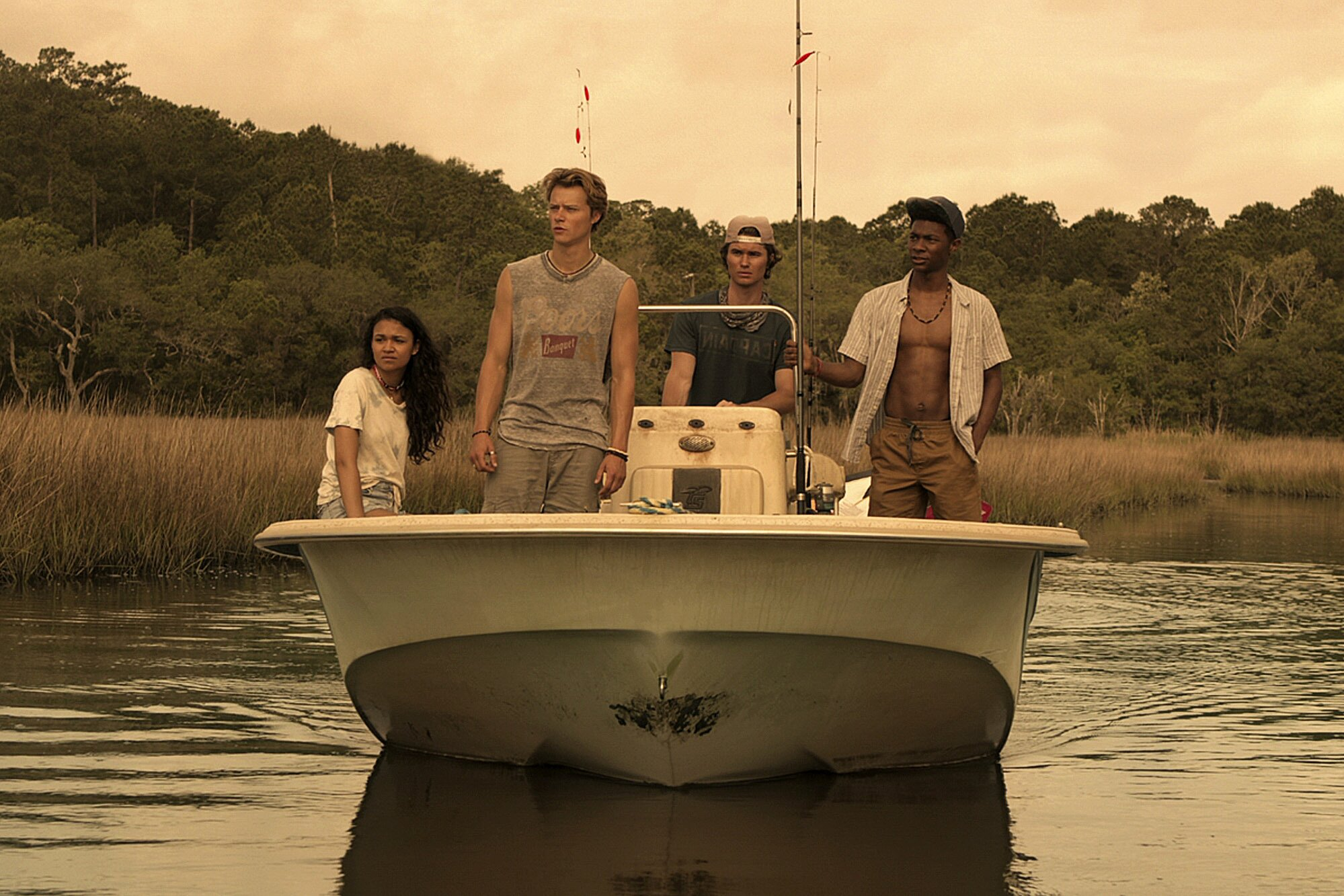 Madison Bailey, Rudy Pankow, Chase Stokes, and Jonathan Daviss star in the Netflix original series 'Outer Banks.' (Photo courtesy of Netflix.)