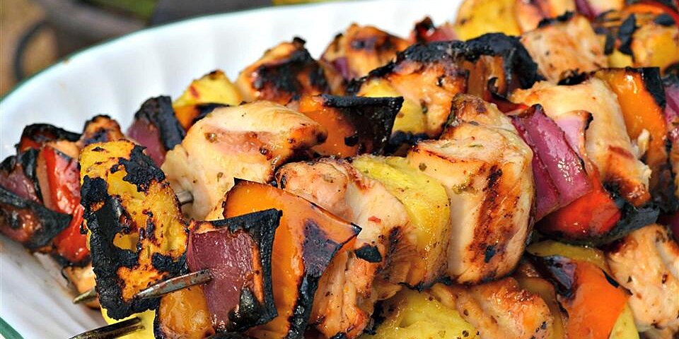 caribbean inspired grilled chicken kabobs recipe