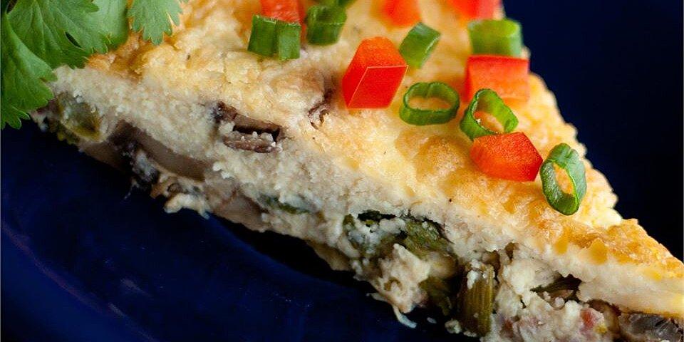 asparagus mushroom bacon crustless quiche recipe