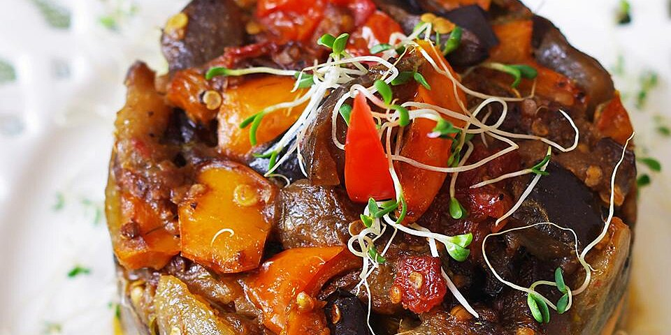 roasted eggplant and bell pepper salad recipe