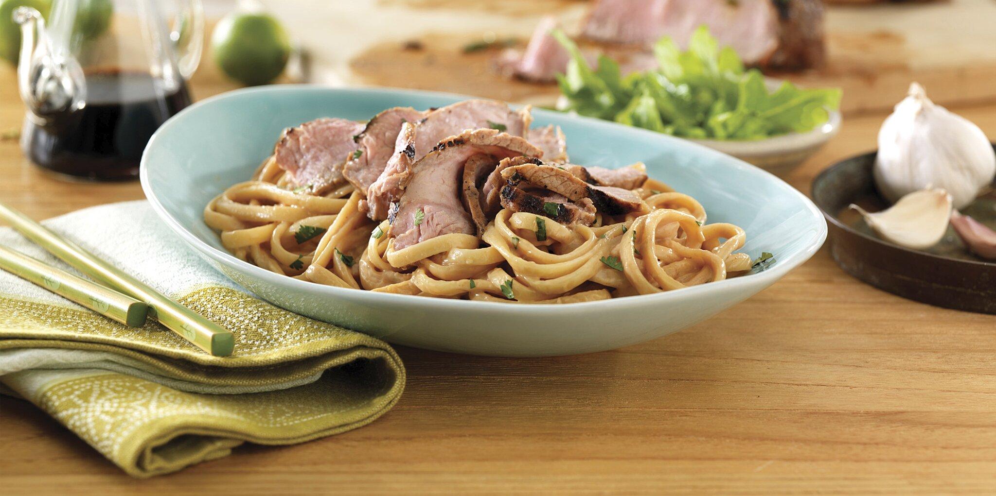 grilled thai pork noodle bowl