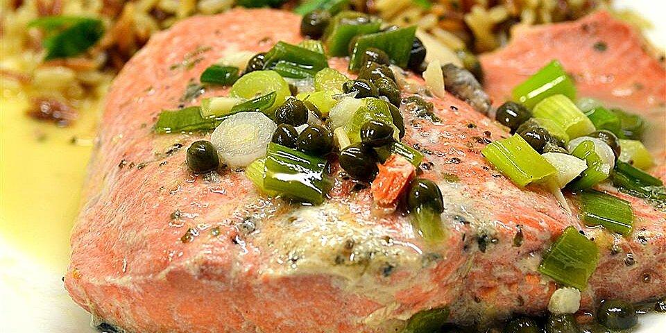 pan poached alaskan salmon piccata recipe