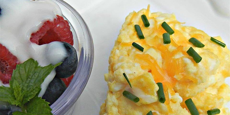 cheesy oven scrambled eggs recipe