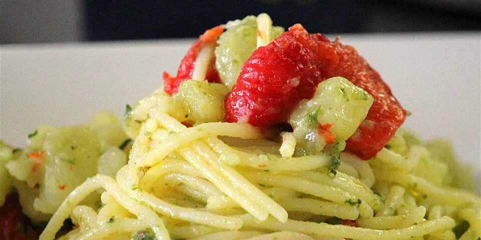 gluten free spaghetti with diced potatoes roasted peppers