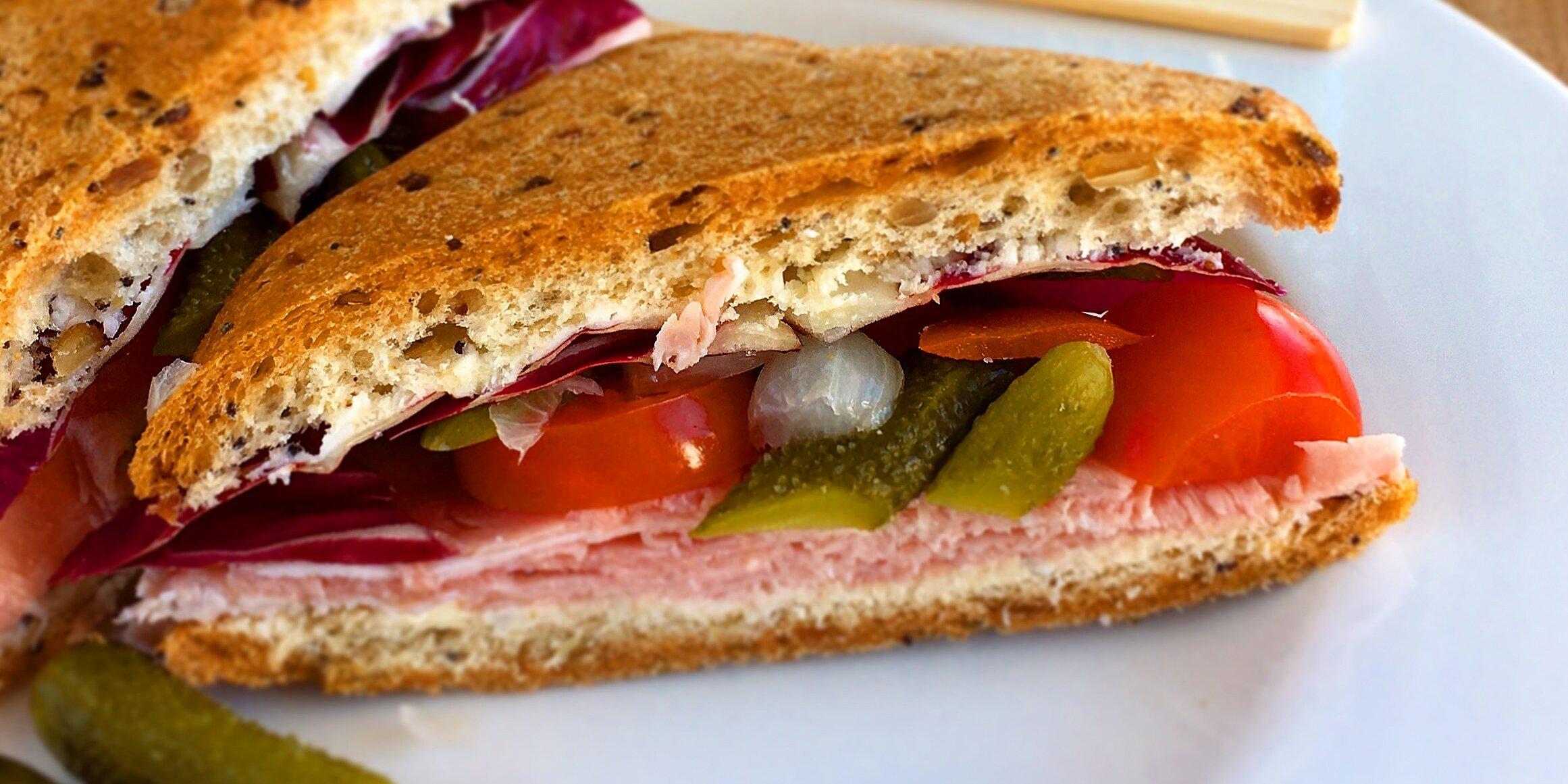ham sandwich with crunchy maille cornichons recipe