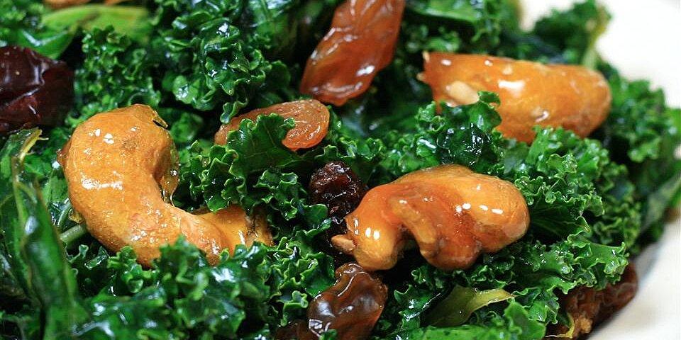 kale salad with sugar coated cashews recipe