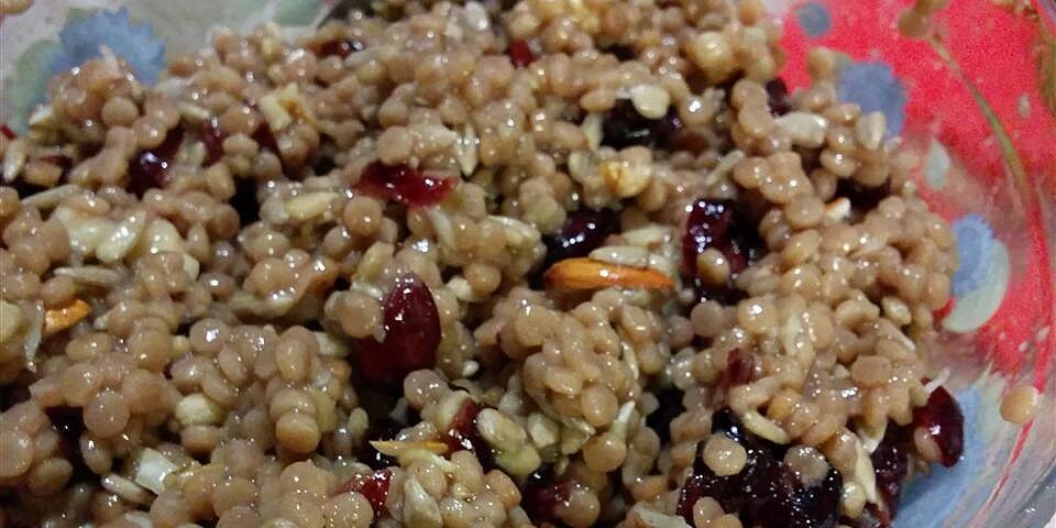 israeli couscous with cranberries walnuts and sunflower seeds