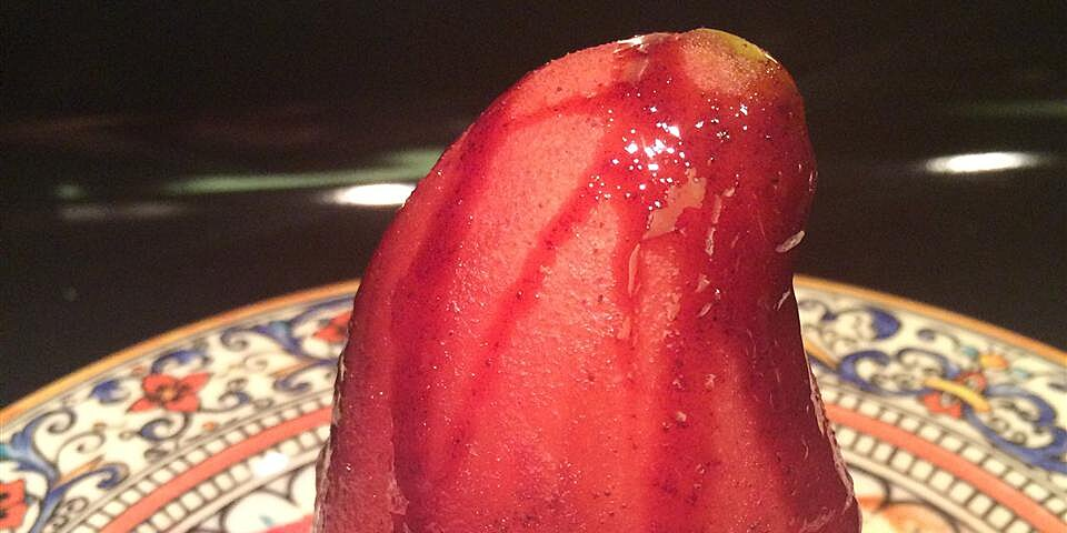 red wine poached pears with chocolate filling recipe
