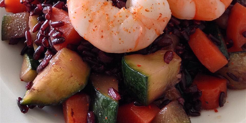 riso venere ai gamberetti e zucchini venus black rice with