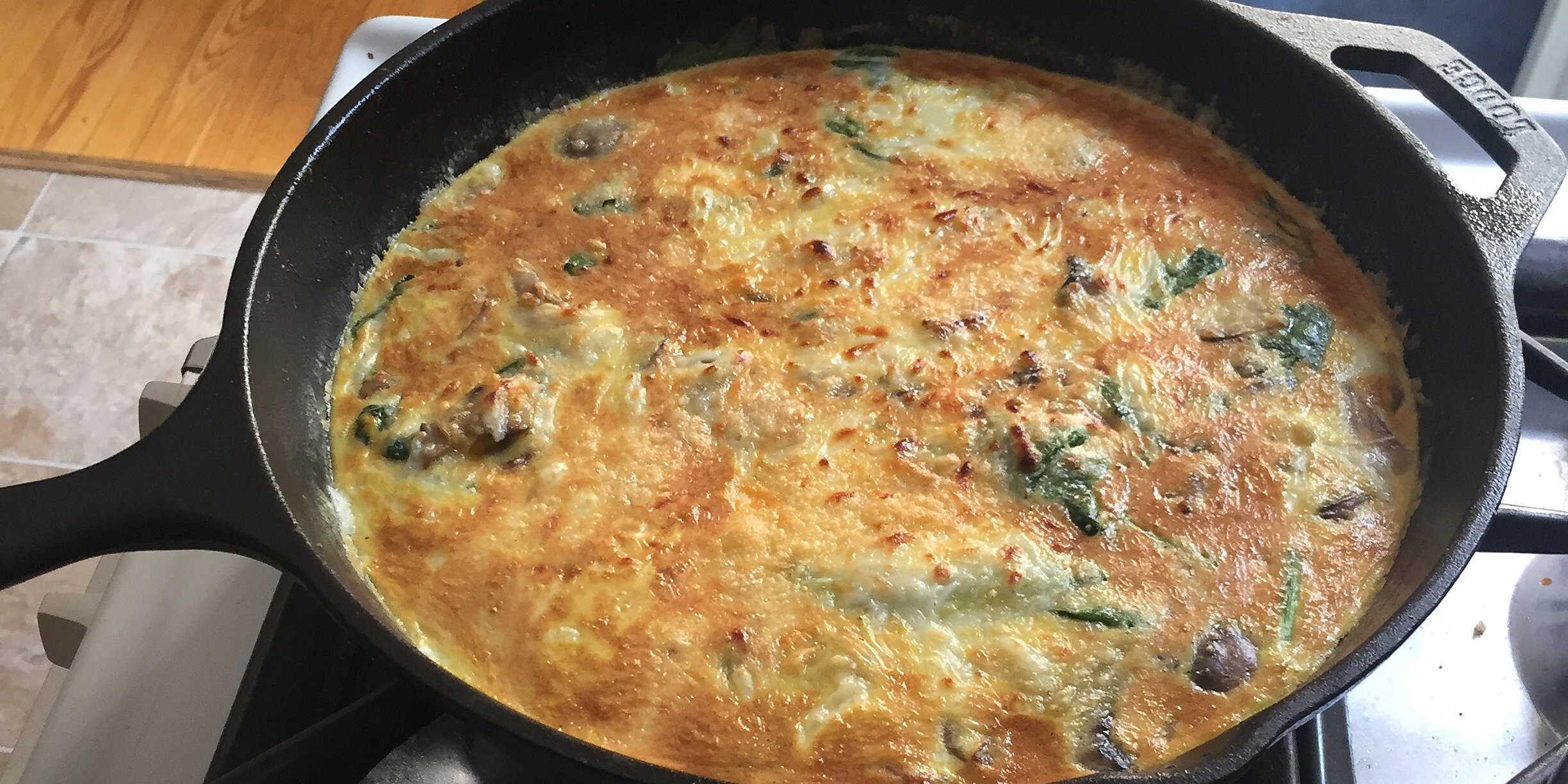 bacon and potato frittata with greens