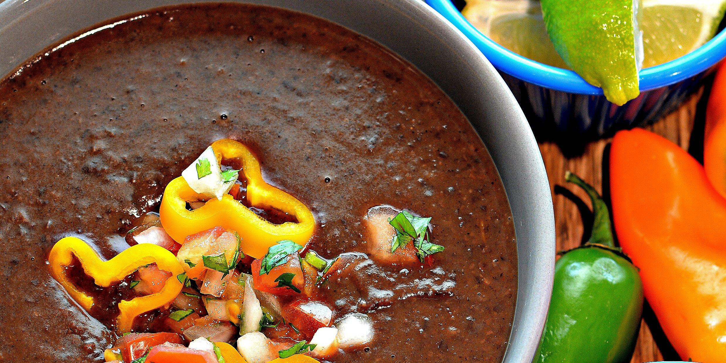 instant pot spicy black bean soup vegan recipe