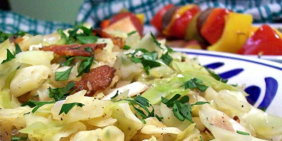 fried cabbage with bacon onion and garlic recipe