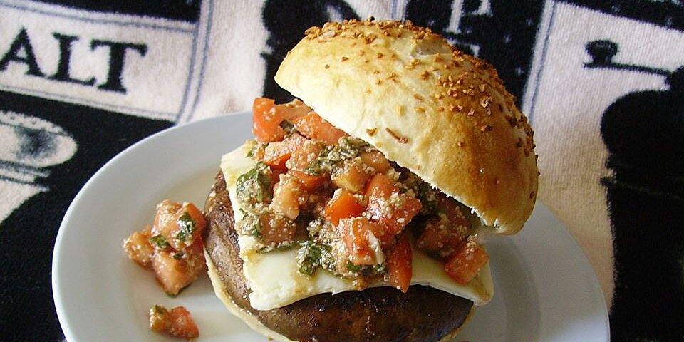 back to portobello mushroom burger with bruschetta topping recipe
