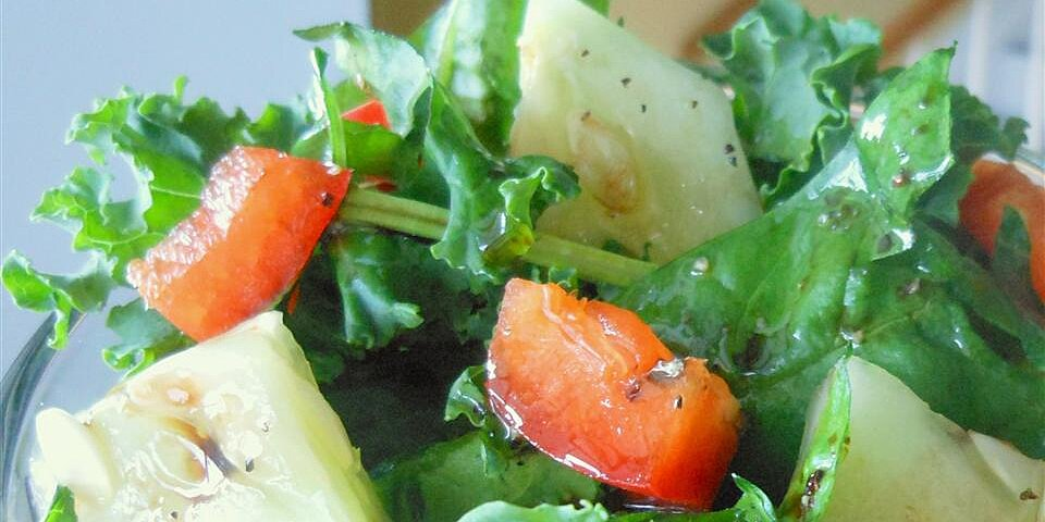 colorful kale and spinach salad and homemade dressing recipe