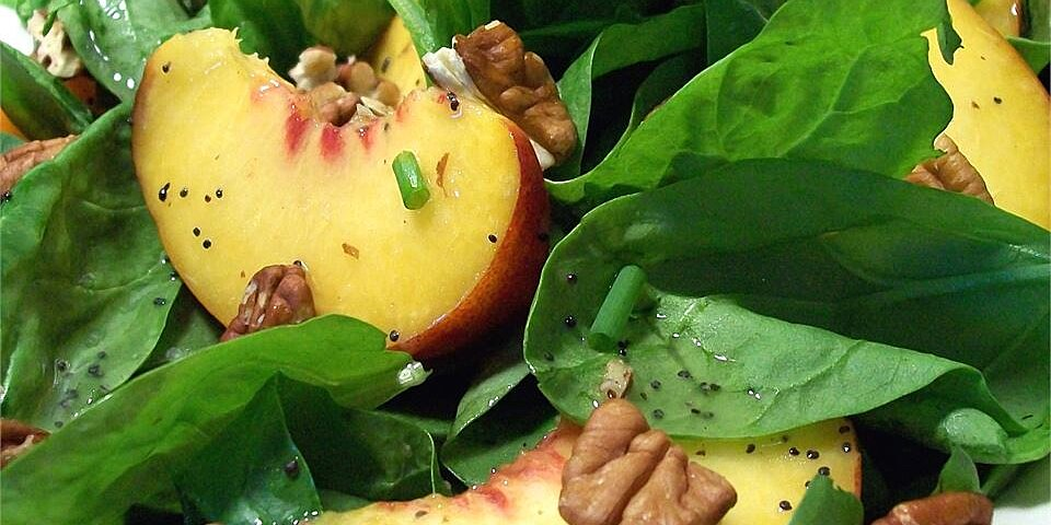 spinach salad with peaches and pecans recipe