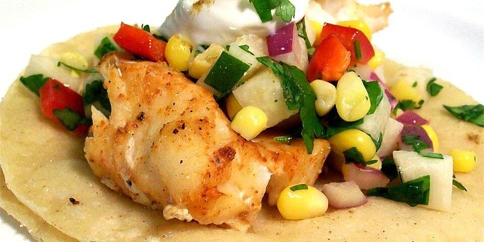 fiery fish tacos with crunchy corn salsa recipe