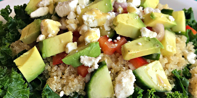 kale quinoa and avocado salad with lemon dijon vinaigrette