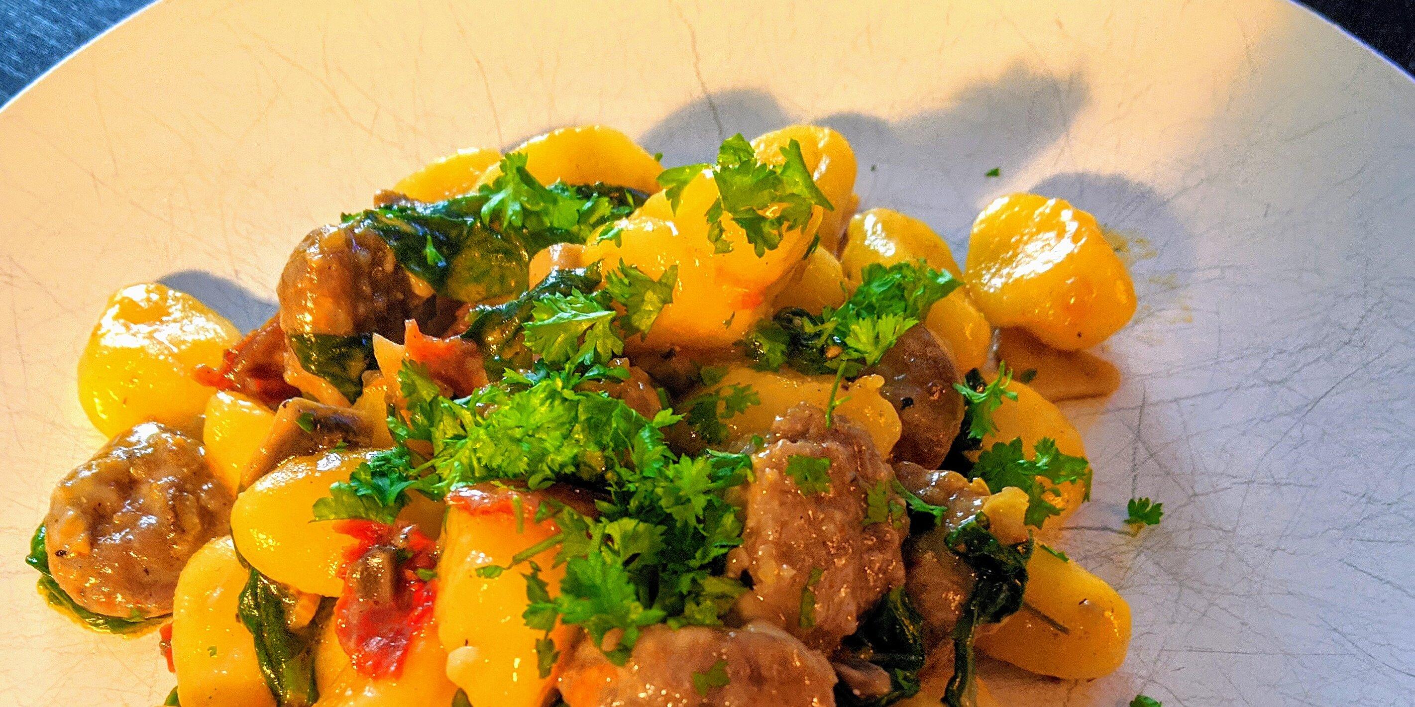 smoked sausage gnocchi with sun dried tomatoes